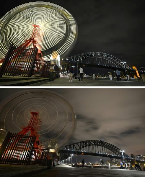 The ferris wheel at Luna Park and Sydney Harbour Bridge before and after being plunged into darkness for the Earth Hour environmental campaign to highlight global warming