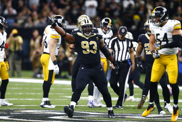 Saints DT David Onyematta has been suspended for their season-opener for violating the league's substance abuse policy after he was cited for allegedly having marijuana delivered to his home in January. (AP/Bill Feig)
