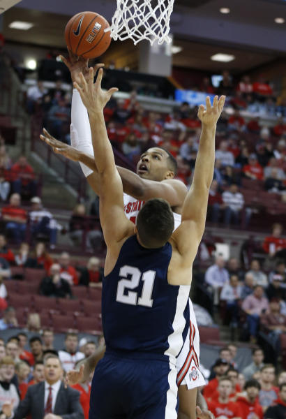 Ohio State's Kaleb Wesson, top, shoots over Penn State's John Harrar during the second half of an NCAA college basketball game Saturday, Dec. 7, 2019, in Columbus, Ohio. Ohio State beat Penn State 104-74. (AP Photo/Jay LaPrete)