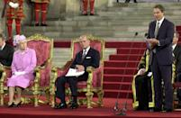 Tony Blair speaks while the Queen and Prince Philip listen on in Westminster Hall. The Queen had just opened the 46th Commonwealth Parliamentary Conference. (JOHN STILLWELL/AFP via Getty Images)