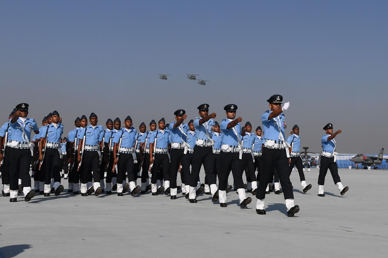Members of the Indian Air Force (IAF) march past during the Air Force Day parade at an IAF station in Ghaziabad, on the outskirts of New Delhi, on October 8, 2019. - The Indian Air Force is celebrating its 87th anniversary. (Photo by PRAKASH SINGH / AFP) (Photo by PRAKASH SINGH/AFP via Getty Images)