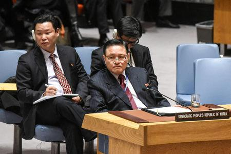 North Korea's Ambassador to the United Nations Ja Song Nam listens to remarks delivered during a United Nations Security Council meeting about North Korea's nuclear program at the United Nations headquarters in New York City