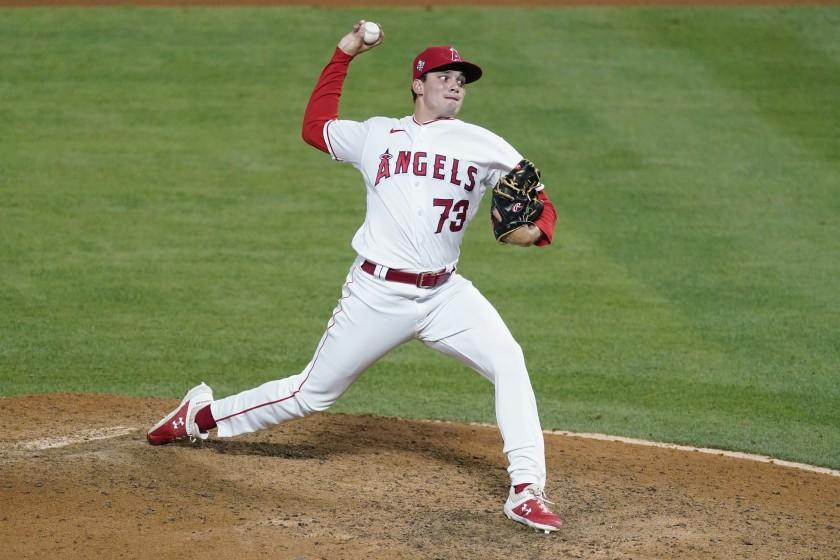 Los Angeles Angels relief pitcher Chris Rodriguez (73) throws during a baseball game.