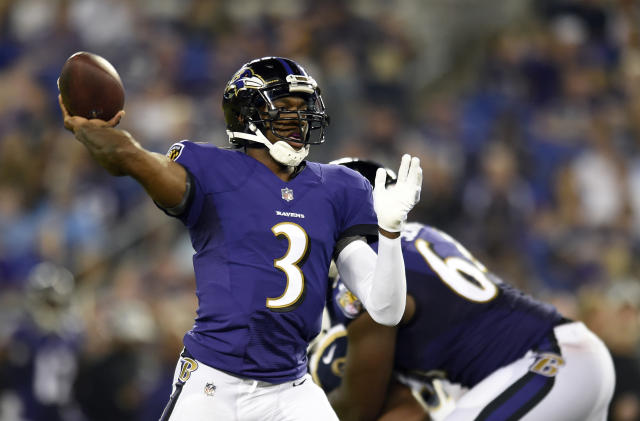 FILE - In this Thursday, Aug. 9, 2018 file photo, Baltimore Ravens quarterback Robert Griffin III throws a pass in the second half of a preseason NFL football game against the Los Angeles Rams in Baltimore. Robert Griffin III, the 2012 Offensive Rookie of the Year whose subsequent seasons have been marred by injuries, will face the team that chose him second overall that year and made the playoffs behind him. While RG3 has, by all accounts, had a solid summer, there's no guarantee he will make the Ravens, who have Joe Flacco entrenched as the starter and first-round draftee Lamar Jackson as his understudy.(AP Photo/Gail Burton)