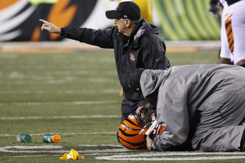 Cincinnati Bengals outside linebacker Vontaze Burfict (55) lies on the field after being hit by JuJu Smith-Schuster on Monday night. (AP)