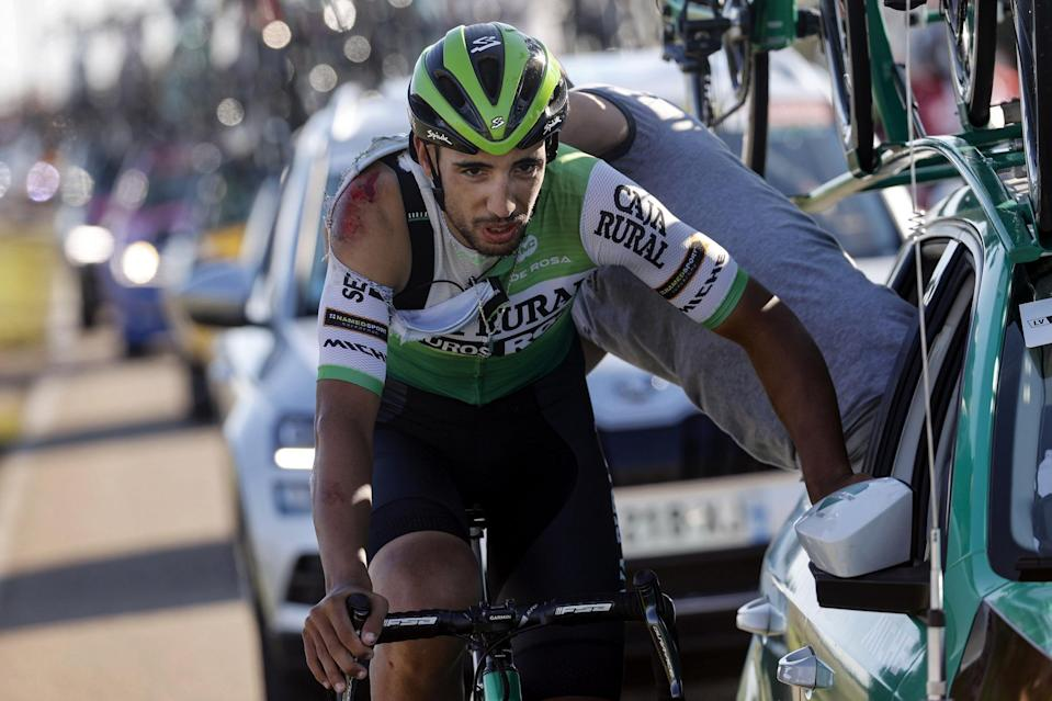 Vuelta Espana 2020 - 75th Edition - 9th stage Castrillo del Val - Aguilar de Campoo 157,7 km - 29/10/2020 - Hector Saez (ESP - Caja Rural - Seguros RGA) - Crash - Injury - photo Luis Angel Gomez/BettiniPhoto©2020
