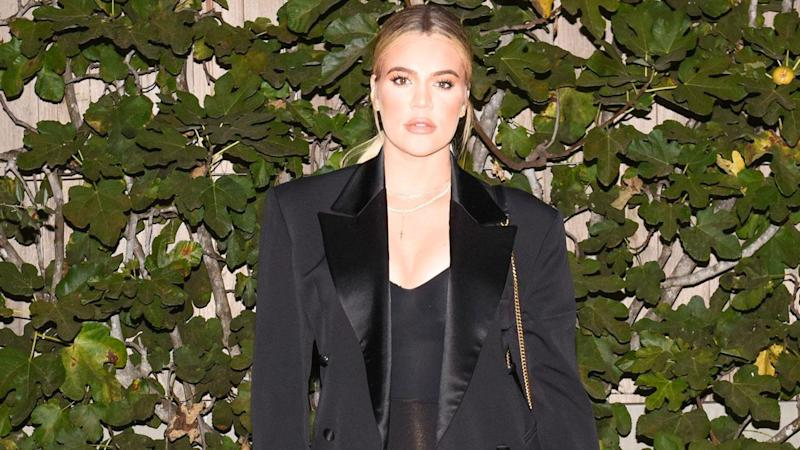 Pregnant Khloe Kardashian Poses in Only a Bodysuit and Blazer, Sister Kim Replicates the Style