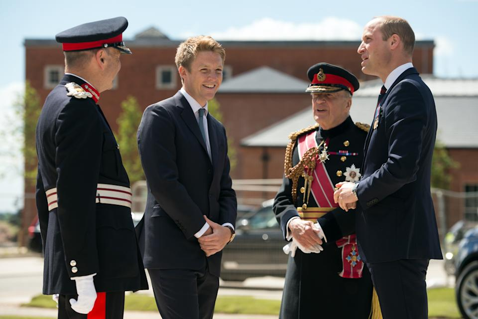 LEEDS, ENGLAND - JUNE 21: Prince William, Duke of Cambridge (R) is greeted by General Timothy Granville-Chapman (2R), Hugh Grosvenor, the Duke of Westminster (2L) and John Peace (L) during the official handover to the nation of the newly built Defence and National Rehabilitation Centre (DNRC) at the Stanford Hall Estate on June 21, 2018 in Leeds, England. The centre will provide world-class rehabilitation facilities for members of the Armed Forces who have suffered major trauma or injury during their service. (Photo by Oli Scarff - WPA Pool/Getty Images)