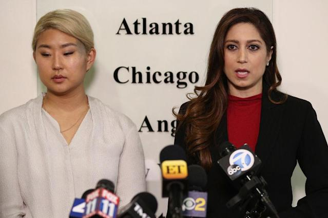 Attorney Anahita Sedaghatfar, right, and client Youngjoo Hwang announce a lawsuit against actor Fred Savage and the Fox TV network on Wednesday in L.A. (Photo: Frederick M. Brown/Getty Images)