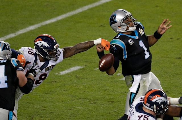 Von Miller helped deliver a Super Bowl to Denver, particularly on this game-defining strip sack of Cam Newton in the 2016 championship game. (AP)