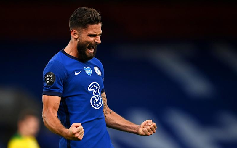 Olivier Giroud of Chelsea celebrates after scoring his sides first goal during the Premier League match between Chelsea FC and Norwich City at Stamford Bridge on July 14, 2020 in London, England - Frank Lampard hails 'big character' Olivier Giroud after Frenchman bags winner against Norwich - GETTY IMAGES