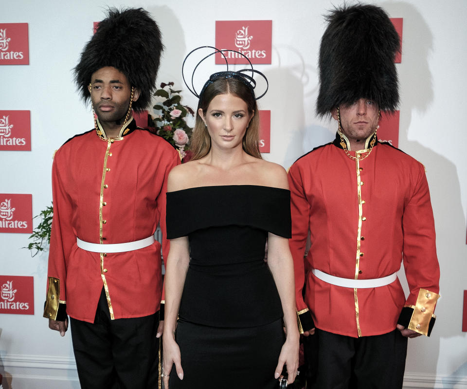 MELBOURNE, AUSTRALIA - OCTOBER 31: Millie Mackintosh poses at the Emirates Marquee on Derby Day at Flemington Racecourse on October 31, 2015 in Melbourne, Australia. (Photo by Luis Ascui/Getty Images)