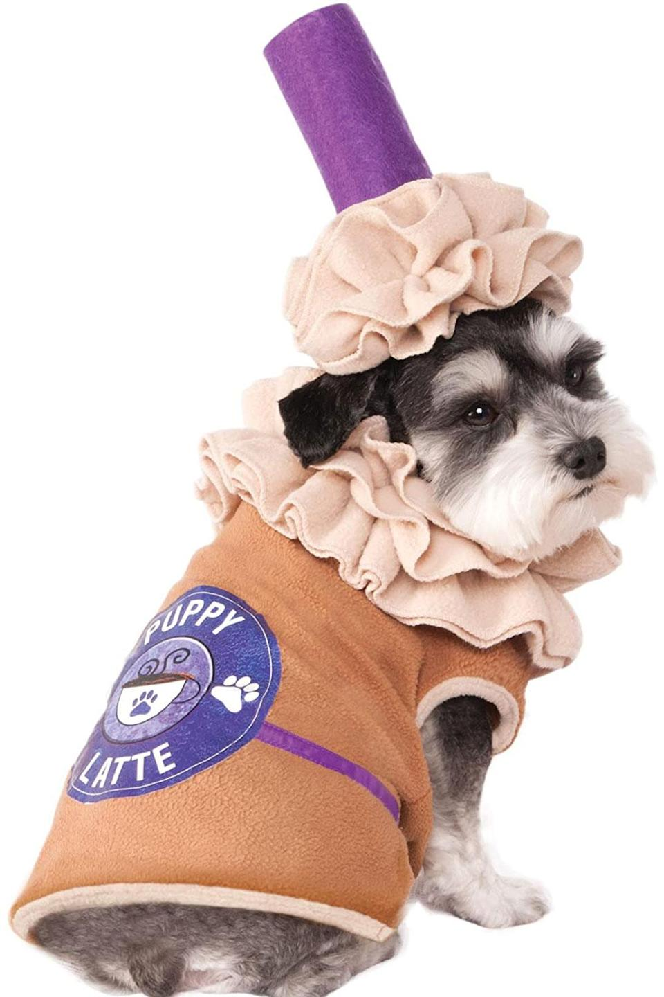 """<p>Get your pet a Halloween costume they can wear all fall! </p> <p><strong>Buy it!</strong> Rubie's Puppy Latte Pet Costume, $17.68; <a href=""""https://www.amazon.com/Rubies-Puppy-Latte-Costume-Medium/dp/B00ZHS66PI?&linkCode=ll1&tag=pogiftfordogownersobsessedwithpumpkinspicedlatteskbender0921-20&linkId=9f867bc528630922305d3fce0daeb89c&language=en_US&ref_=as_li_ss_tl"""" rel=""""nofollow noopener"""" target=""""_blank"""" data-ylk=""""slk:Amazon.com"""" class=""""link rapid-noclick-resp"""">Amazon.com</a></p>"""