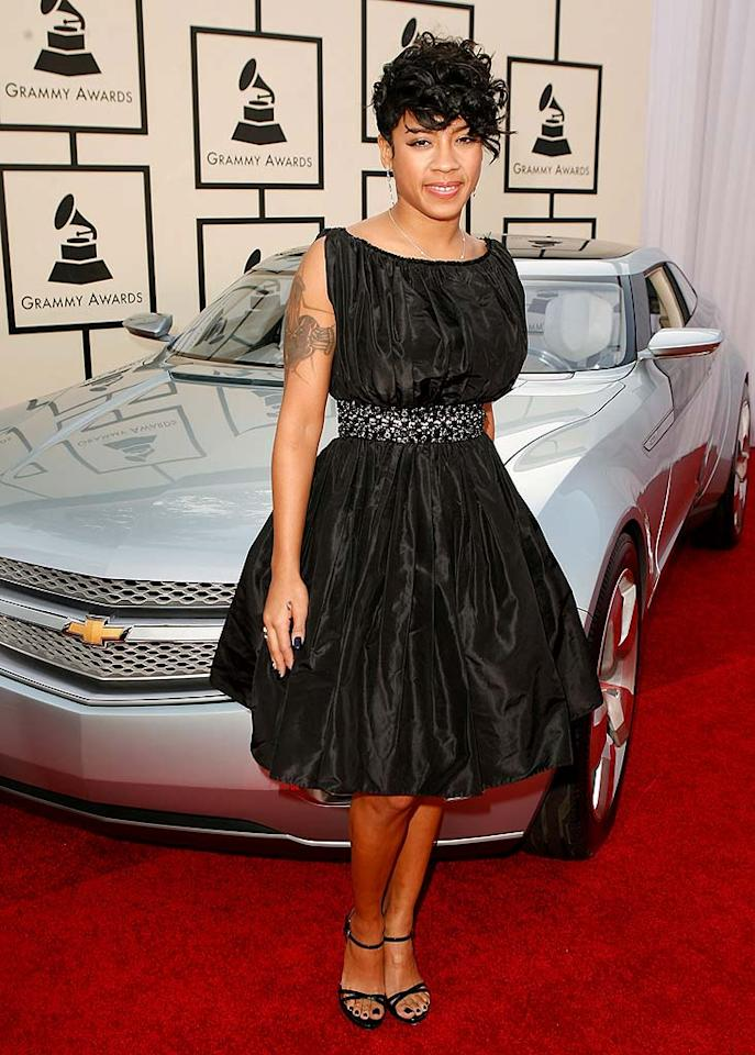"""Keyshia Cole looked cute and classy in her black 1950s style cocktail dress. We just wish she had covered up her tattoo! Nevertheless, the """"Princess of Hip Hop Soul"""" was still nominated for Best Contemporary RnB Album and Best Rap/Sung Collaboration for """"Let It Go,"""" which features Missy Elliott and Lil' Kim. Jeff Vespa/<a href=""""http://www.wireimage.com"""" target=""""new"""">WireImage.com</a> - February 10, 2008"""