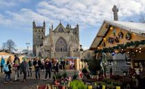"""<p>Devon's ancient city holds its Christmas market outside its famed Cathedral, making for an atmospheric experience for visitors. Pick up a range of local, handcrafted gifts displayed at the 90 stalls, or sample everything from roast hog to mulled apple gin at the Food Village before heading inside the Cathedral itself to marvel at its grand architecture. See <u><a rel=""""nofollow noopener"""" href=""""https://www.exeter-cathedral.org.uk/news-events/whats-on/"""" target=""""_blank"""" data-ylk=""""slk:exeter-cathedral.org.uk"""" class=""""link rapid-noclick-resp"""">exeter-cathedral.org.uk</a></u>. [Photo: Flickr/<a rel=""""nofollow noopener"""" href=""""https://www.flickr.com/photos/levettday/"""" target=""""_blank"""" data-ylk=""""slk:Alison Day]"""" class=""""link rapid-noclick-resp"""">Alison Day]</a> </p>"""