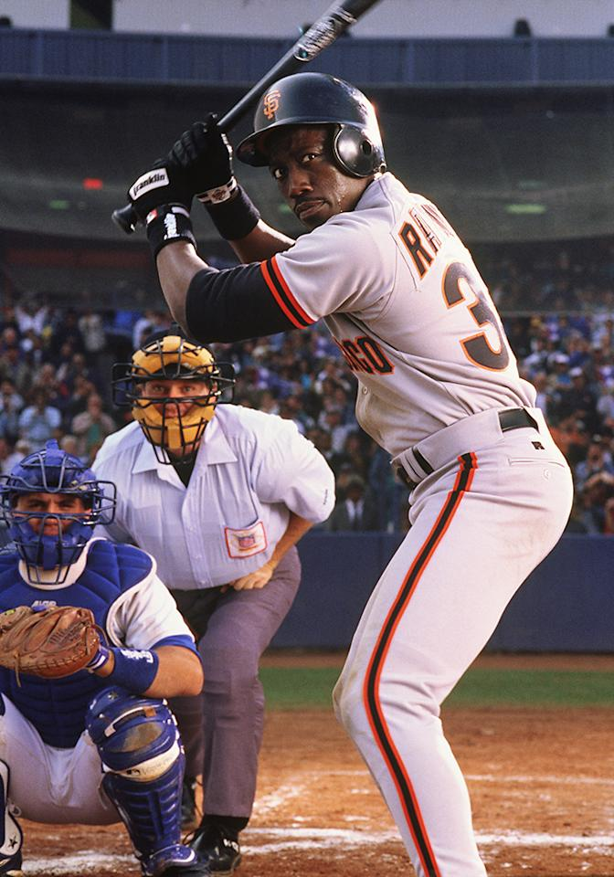 """<b>Center Field: Bobby Rayburn</b> (Wesley Snipes) in """"The Fan"""" -- A lot of GM's would have gone with Snipes as Willie Mays Hayes in """"Major League,"""" but we figure we get the same skill set plus a bit more muscle, kinda like young Barry Bonds vs the juiced-up home run king Bonds. And if Rayburn can get out of a pickle with that psycho Gil Renard (Robert De Niro), than we definitely want him running our bases."""