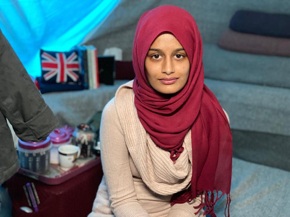 Jihadi bride Shamima Begum was pictured in front of a British flag embroidered on a cushion (Picture: James Longman/ABC)