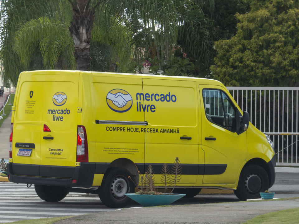 São Paulo, Brazil - February 19, 2021: Mercado Livre van delivers products purchased over the Internet