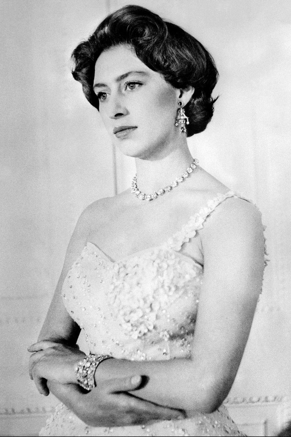 <p>A portrait of Princess Margaret, taken at her older sister, Queen Elizabeth's, birthday. It's like a photo booth, but more professional because, royalty. Her Majesty turned 30 years old in 1956.</p>