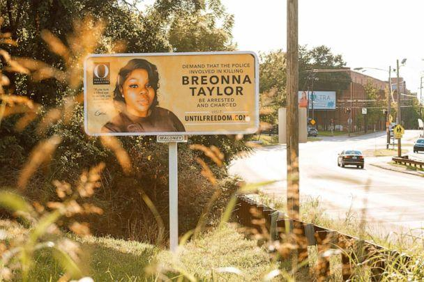PHOTO: A billboard featuring a picture of Breonna Taylor and calling for the arrest of police officers involved in her death is seen on Aug. 11, 2020, in Louisville, Ky. (Jon Cherry/Getty Images, FILE)