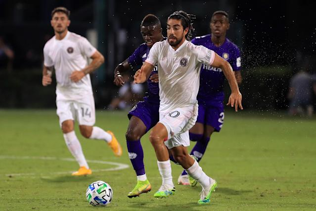 Inter Miami's Rodolfo Pizarro drives the ball against Orlando City to kick off the MLS is back Tournament at ESPN Wide World of Sports Complex on Wednesday. (Photo by Mike Ehrmann/Getty Images)