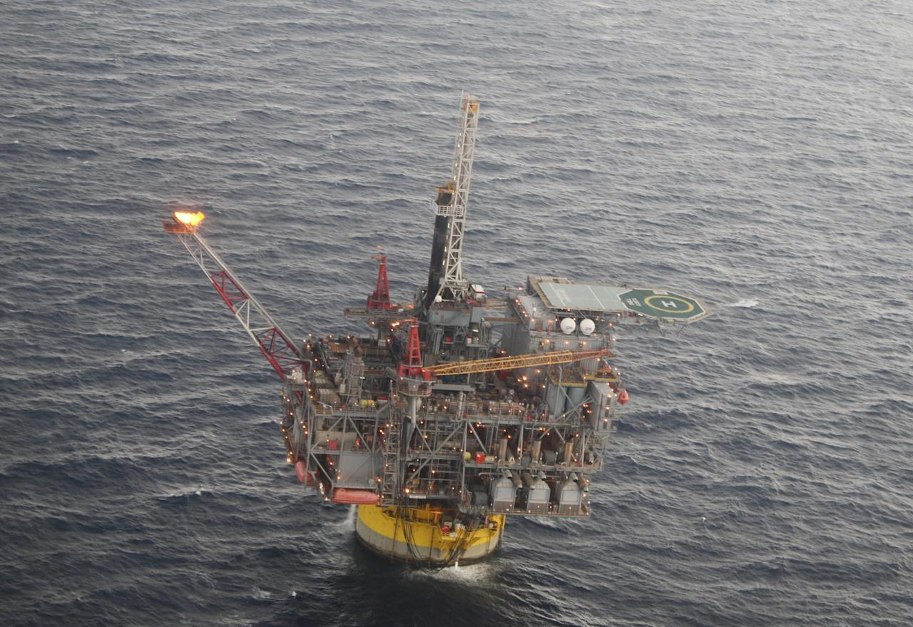 This Oct. 27, 2011 photo, shows the Perdido oil platform located 200 miles south of Galveston, Texas, in the Gulf of Mexico. The platform is operated by Shell Oil Co. and owned by Shell, Chevron and British Petroleum. (AP Photo/Jon Fahey)