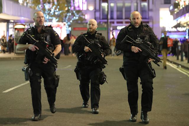 <p>Armed police patrol near Oxford street as they respond to an incident in central London on Nov. 24, 2017, as police responded to an incident. (Photo: Daniel Leal-Olivas/AFP/Getty Images) </p>