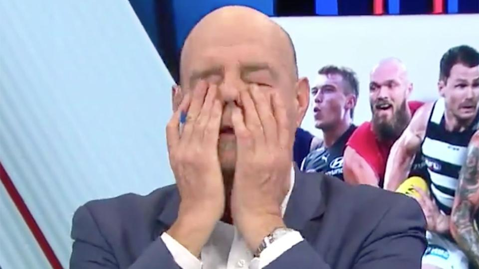 Seen here, AFL 360 co-host Mark Robinson reacts to the AFL medical sub rule with frustration.
