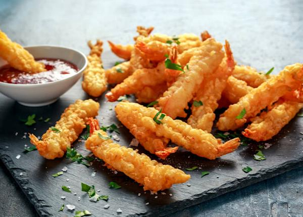 Tempura is seafood and vegetables coated in a light batter.