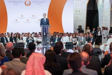 "FILE PHOTO: White House senior adviser Jared Kushner speaks at the ""Peace to Prosperity"" conference in Manama"