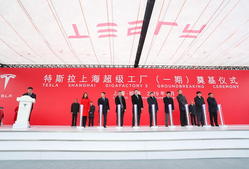 SHANGHAI, Jan. 7, 2019 -- Guests attend the groundbreaking ceremony of Tesla Shanghai gigafactory in Shanghai, east China, Jan. 7, 2019. (Xinhua/Ding Ting) (Xinhua/ via Getty Images)