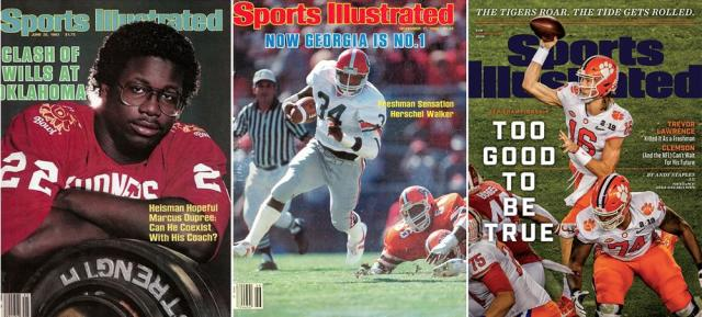 Marcus Dupree (left), Herschel Walker (center) and Trevor Lawrence (right) all landed an SI cover before their sophomore seasons. | SI Vault