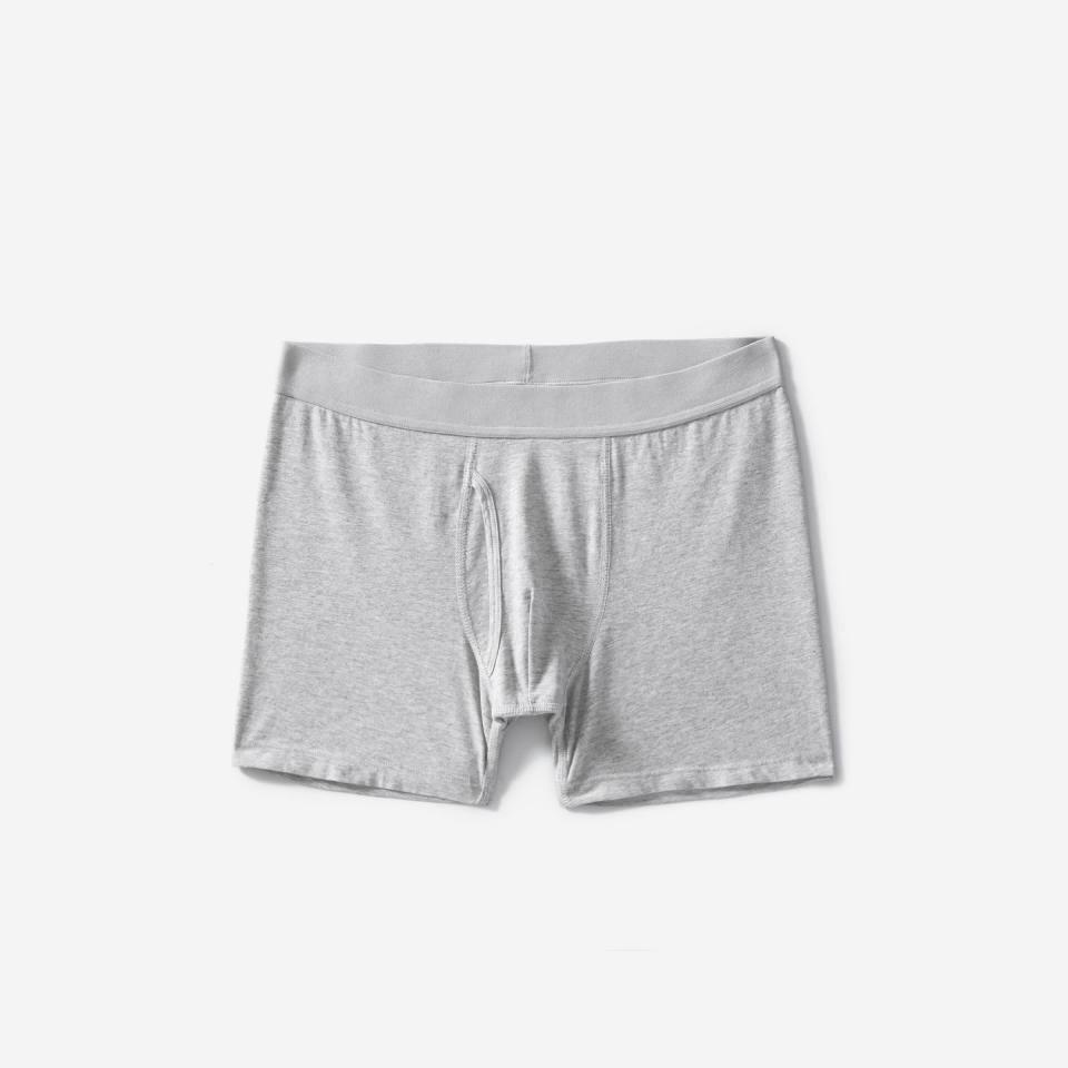"""<p><strong>Everlane</strong></p><p>everlane.com</p><p><strong>$18.00</strong></p><p><a href=""""https://go.redirectingat.com?id=74968X1596630&url=https%3A%2F%2Fwww.everlane.com%2Fproducts%2Fmens-boxer-brief-heathergrey&sref=https%3A%2F%2Fwww.cosmopolitan.com%2Fstyle-beauty%2Ffashion%2Fg32619153%2Fgifts-for-man-who-has-everything%2F"""" rel=""""nofollow noopener"""" target=""""_blank"""" data-ylk=""""slk:Shop Now"""" class=""""link rapid-noclick-resp"""">Shop Now</a></p><p>When he has it all, it's time to start replacing some of his overused items. These boxer briefs, which come with a one-year guarantee that they won't rip, is the perfect replacement for his pair with holes all in them.</p>"""