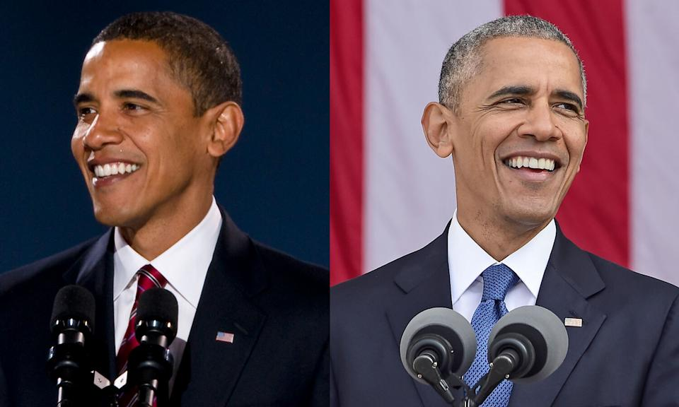 President Obama's hair grew gray over the course of his presidency. Depicted in 2008, the year he was elected president and 2016, during his last year in office. (Photos: Getty Images)