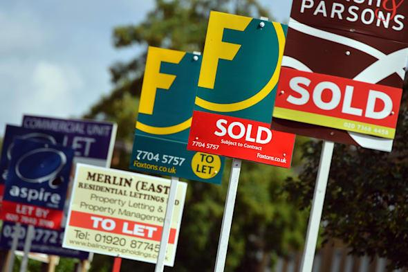 Embargoed to 0001 Thursday March 6File photo dates 09/08/13 of Estate Agent's boards as the Government has failed to demonstrate whether its ?3.7 billion Help To Buy equity loan mortgage scheme is giving value for money, the spending watchdog has warned. PRESS ASSOCIATION Photo. Issue date: Thursday March 6, 2014. The scheme was launched in England last April with the aim of offering credit-worthy buyers with a deposit of at least 5% a helping hand onto the property ladder as well as increasing the housing supply by being targeted at new-build properties only. But the National Audit Office (NAO) found there is no method in place to measure what the