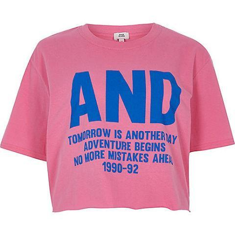"""<p>Pink 'and' print cropped T-shirt. Available at <a href=""""https://www.riverisland.com/p/pink-and-print-cropped-t-shirt-710067"""" rel=""""nofollow noopener"""" target=""""_blank"""" data-ylk=""""slk:River Island - £16"""" class=""""link rapid-noclick-resp"""">River Island - £16</a></p>"""