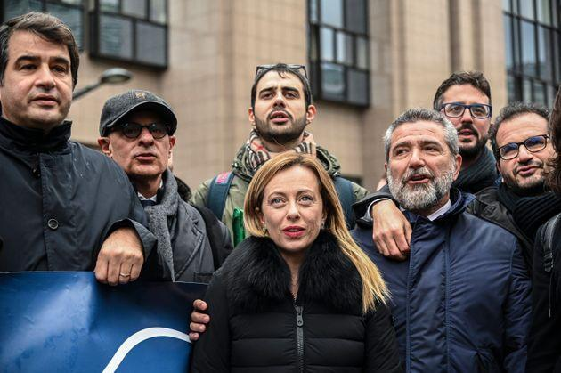 Giorgia Meloni (Fratelli d'Italia) respond to journalists in Brussels, Belgium, on December 9, 2019 (Photo by Riccardo Pareggiani/NurPhoto via Getty Images) (Photo: NurPhoto via Getty Images)