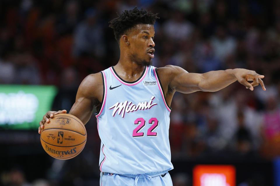 Jordan Brand's top competitors are expected to court Jimmy Butler after his unexpected split with the sneaker giant. (Michael Reaves/Getty Images)