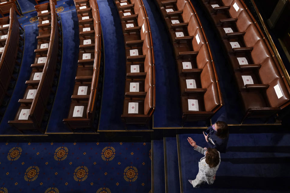 House Speaker Nancy Pelosi of Calif.,, bottom, arrives before President Joe Biden speaks to a joint session of Congress Wednesday, April 28, 2021, in the House Chamber at the U.S. Capitol in Washington. (AP Photo/Andrew Harnik, Pool)