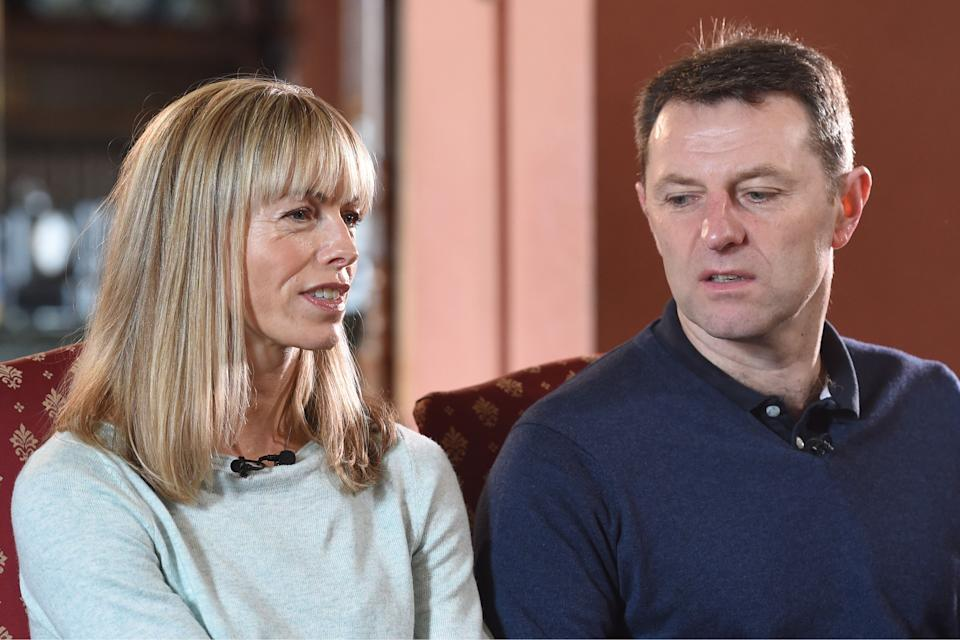 Kate and Gerry McCann, the parents of Madeleine McCann, pictured during a media interview.