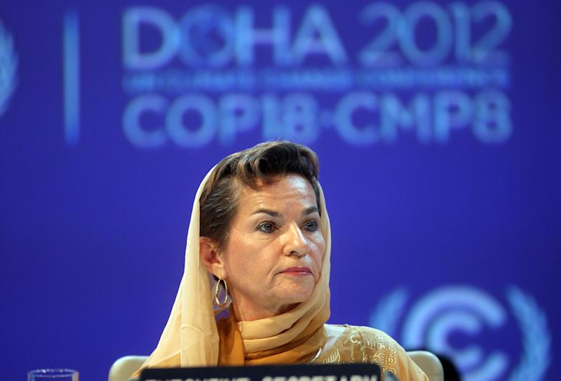 """FILE - In this Monday, Nov. 26, 2012 file photo, Christiana Figueres, Executive Secretary of the United Nations Framework Convention on Climate Change (UNFCCC) attends the opening session of the United Nations Climate Change conference in Doha, Qatar. The United Nations climate chief is urging people not to look solely to their governments to make tough decisions to slow global warming, and instead to consider their own role in solving the problem. Approaching the half-way point of two-week climate talks in Doha, Christiana Figueres, the head of the U.N.'s climate change secretariat, said Friday, Nov. 30, 2012 that she didn't see """"much public interest, support, for governments to take on more ambitious and more courageous decisions."""" (AP Photo/Osama Faisal, File)"""
