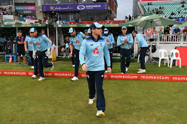 Eoin Morgan of England leads his team. (Photo by Dan Mullan/Getty Images)