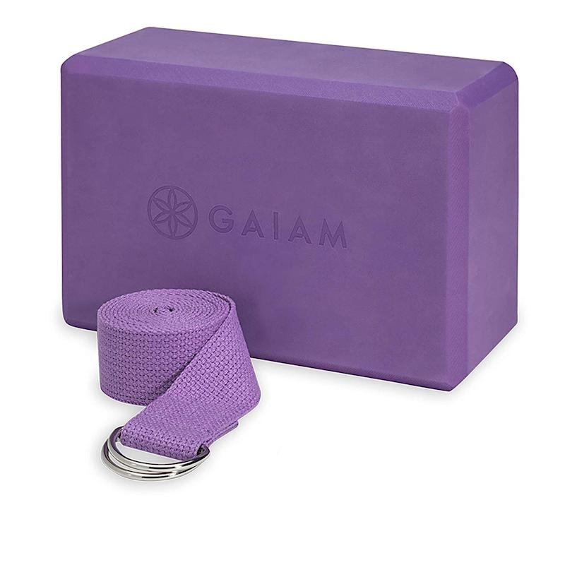 Gaiam Yoga Block + Yoga Strap Combo Set. (Photo: Amazon)