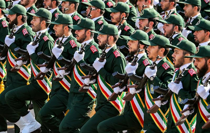 """The United States placed the Islamic Revolutionary Guard Corps (pictured September 2018), Iran's ideological army, on their list of """"foreign terrorist organisations"""" (AFP Photo/STRINGER)"""