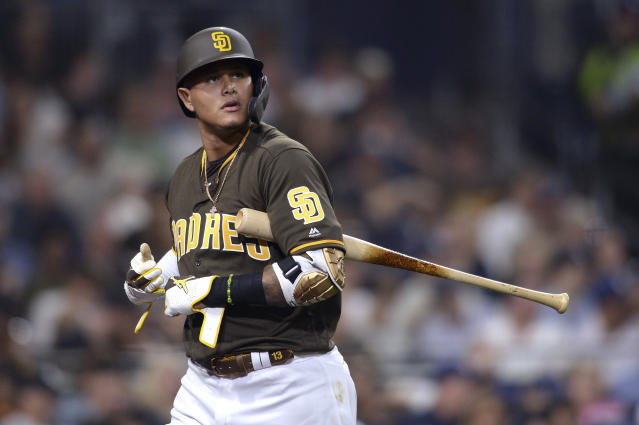 San Diego Padres' Manny Machado looks on after striking out during the fourth inning of a baseball game against the San Francisco Giants Friday, July 26, 2019, in San Diego. (AP Photo/Orlando Ramirez)