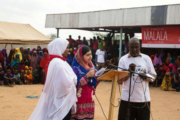 PHOTO: In 2017, Malala Yousafzai visited a camp in Mosul for internally displaced persons where she was hosted by 13-year-old Nayir. (Malin Fezehai/Malala Fund)