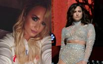 <p>The sultry songstress strayed from her sexy brunette locks in October and debuted hot blonde hair on Instagram, but Demi went back to her signature shade a few days later. <i> (Photo: Instagram/Getty/October 2016)</i> </p>