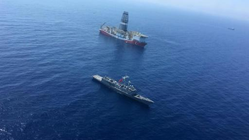 """Turkey has sent a warship to accompany its drilling vessel """"Fatih"""" as it explores for gas in the waters off Cyprus"""