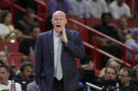 Orlando Magic head coach Steve Clifford calls out a play during the first half of an NBA basketball game against the Miami Heat, Wednesday, March 4, 2020, in Miami. (AP Photo/Wilfredo Lee)