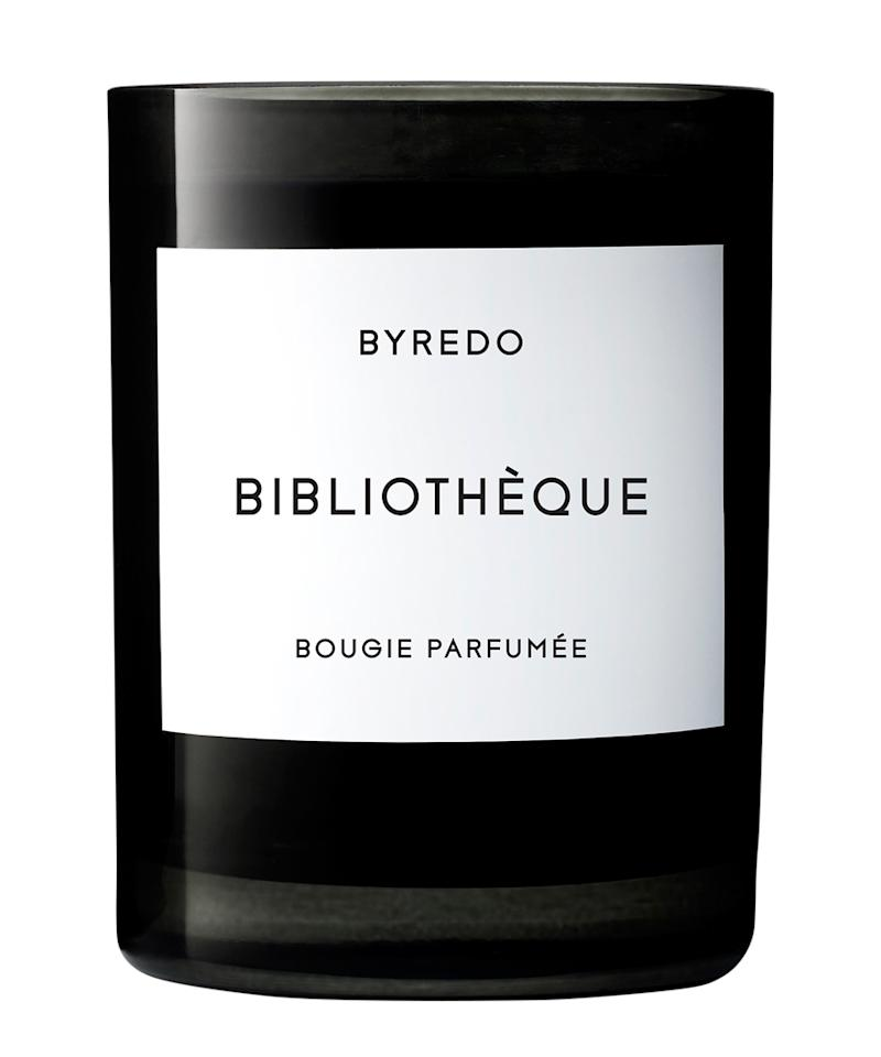 """<p>""""They're a must when I'm on the road. Byredo's Biblioth?que scent is a current favorite.""""</p> <p>$80   <a rel=""""nofollow"""" href='http://www.barneys.com/product/byredo-biblioth-c3-a8que-candle-240g-503326767.html'>SHOP IT</a></p>"""